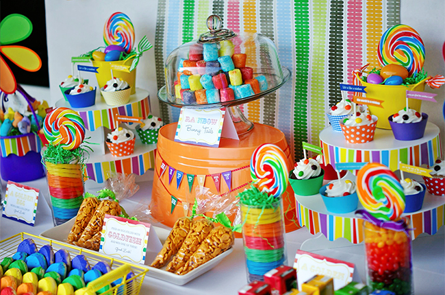 "Gorgeous! Rainbow theme ""Hoppy Easter"" party"