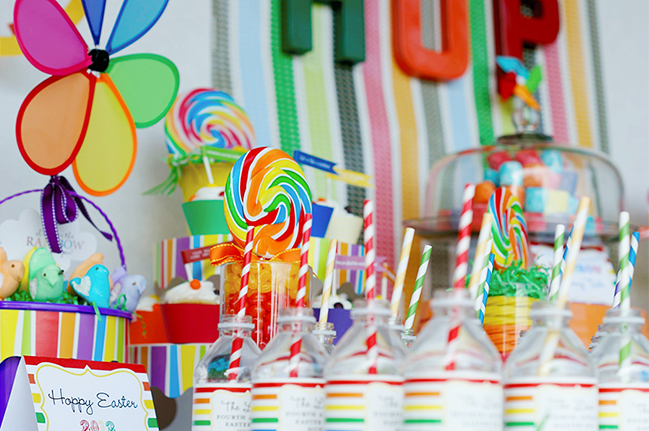Gorgeous rainbow Easter party table