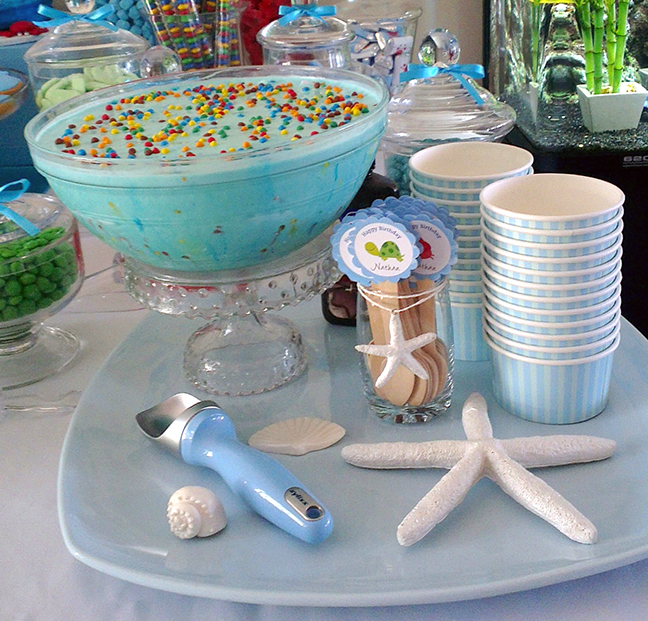 This is a great idea for serving ice cream - soften it, put it in a punch bowl, and re-freeze it until party time!