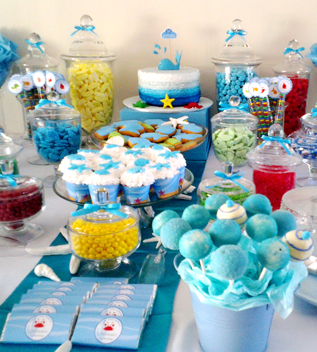 Under the sea birthday party candy buffet featuring Chickabug printables