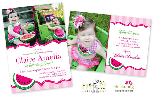 Watermelon party invitation and thank you card from Chickabug