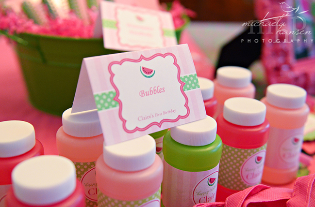 Watermelon party - bubble bottles featuring Chickabug printables