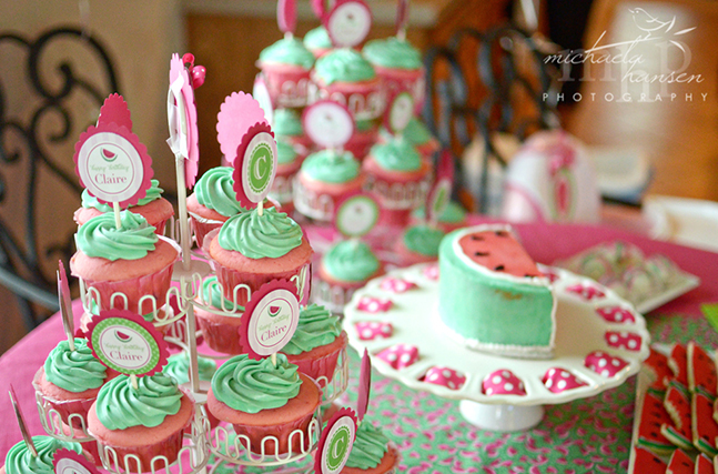 Watermelon party cupcakes and cake - with Chickabug printables