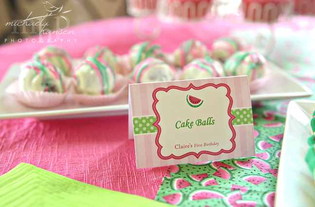 Watermelon cake balls - with Chickabug printables
