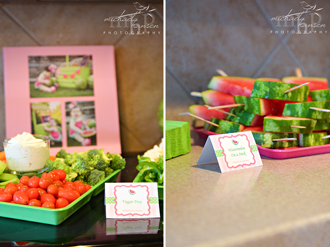 Watermelon party food featuring Chickabug printables