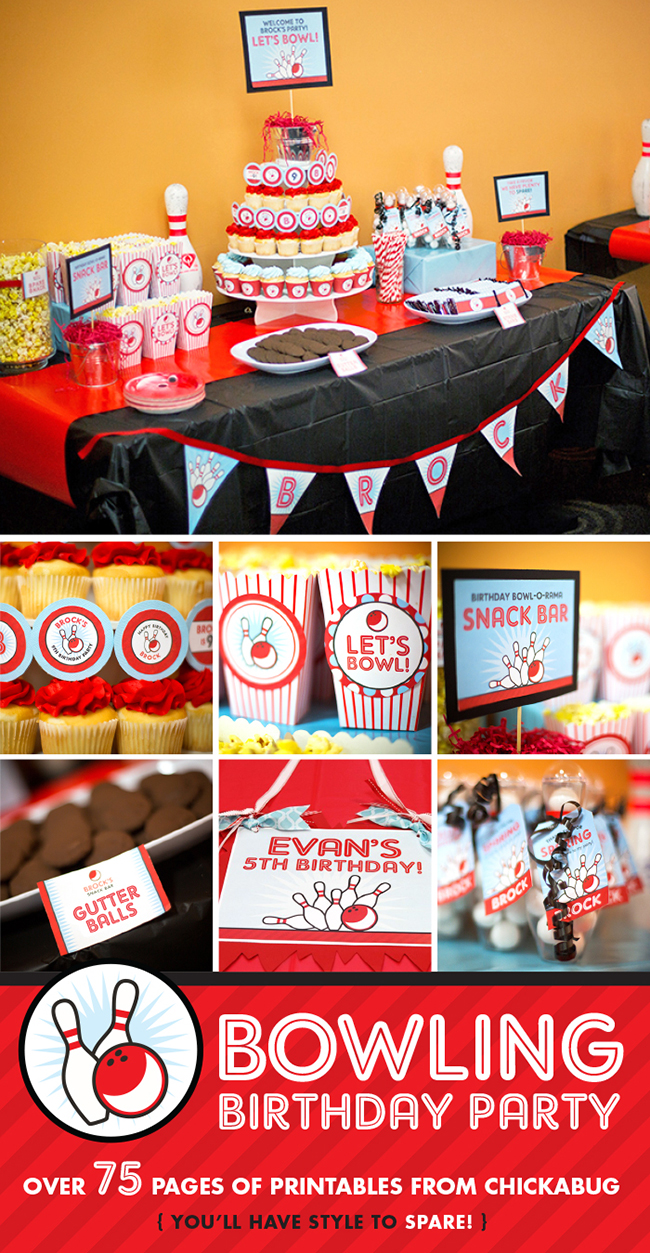Bowling birthday party personalized printables kit from Chickabug. Everything you need to decorate for an amazing bowling party!!