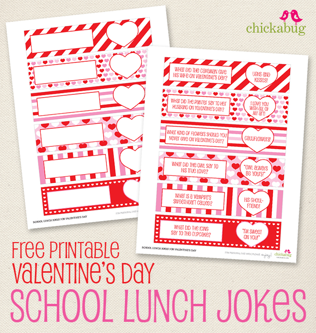 Free printable Valentine's Day school lunch jokes from Chickabug