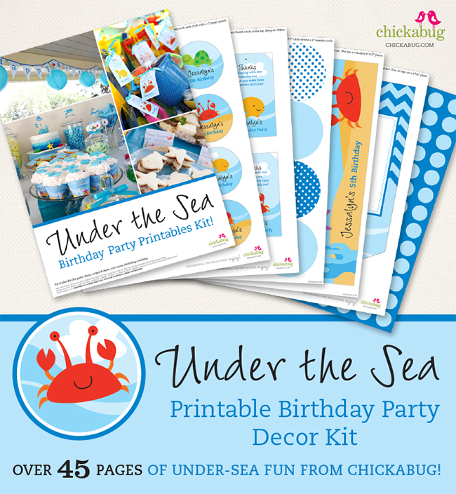Under the Seaprintable birthday partydecor kit – over 45 pages of fun designs from Chickabug!