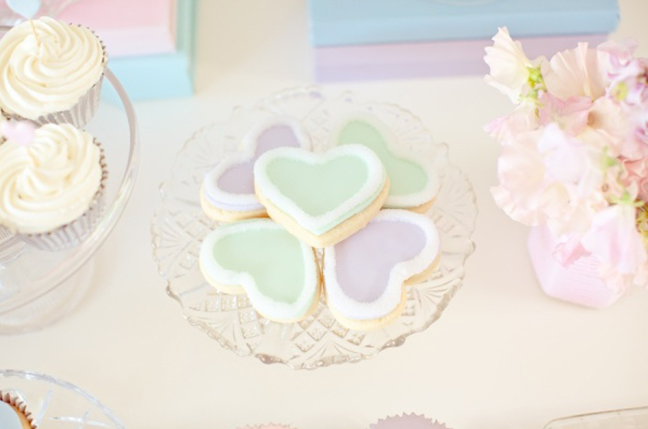 Pastel Valentines Day Party Heart Shaped Cookies