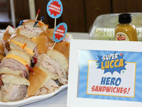 Superhero party food - hero sandwiches! Printable sign from Chickabug