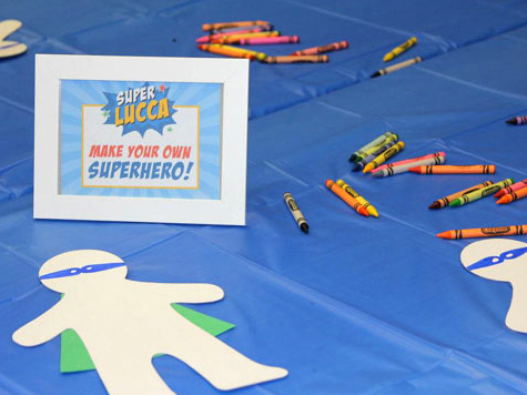 Superhero party activity - make your own superhero! Printable sign from Chickabug