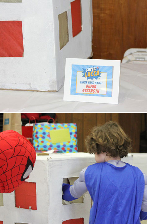Superhero party game - test your super strength! Printable sign from Chickabug