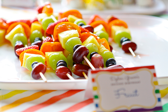 Fruit kebabs from a gorgeous rainbow birthday party!