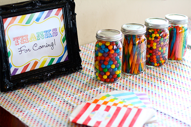 Rainbow theme candy bar - candy bags from Pink Lemonade Party, printable sign from Chickabug