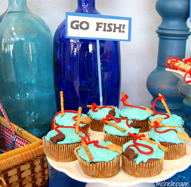 Fishing theme cupcakes