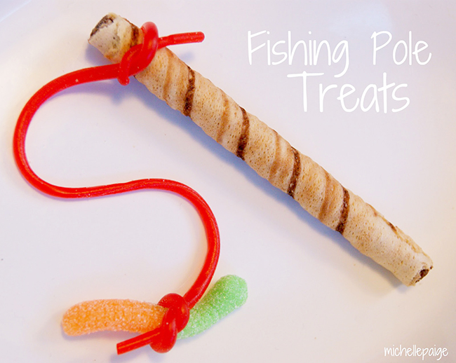 Fishing pole treats - so cute for a goldfish party