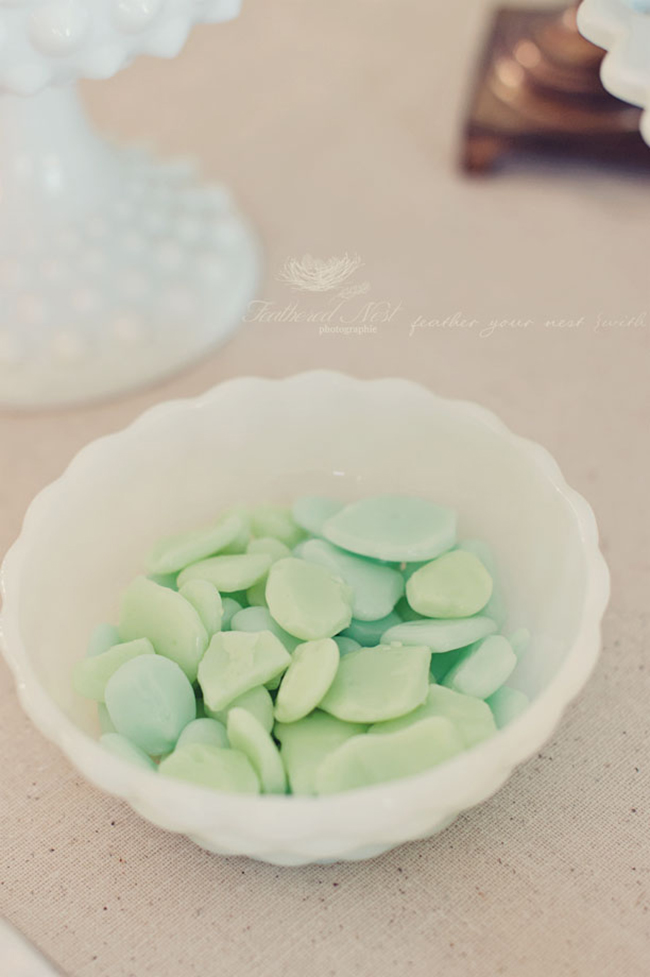 Sea glass candies for a mermaid birthday party