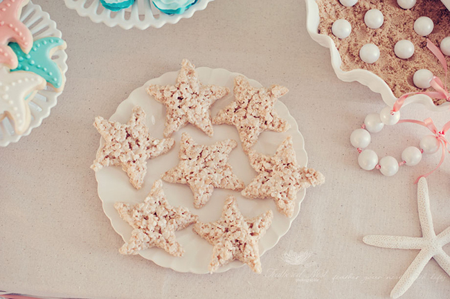 Starfish Rice Krispie treats for a mermaid birthday party