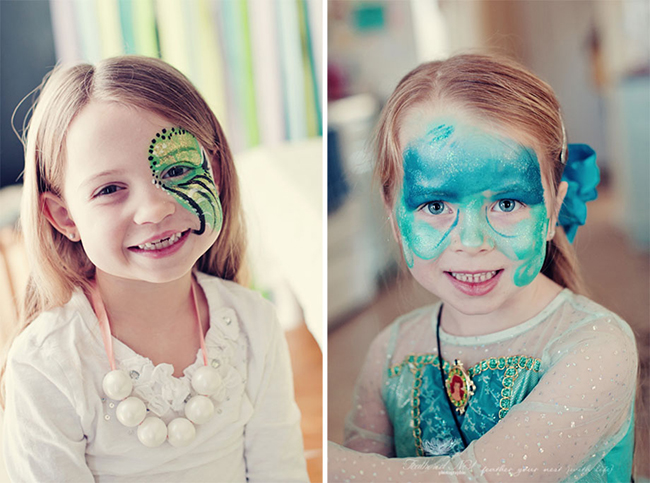 Face painting for a mermaid theme birthday party