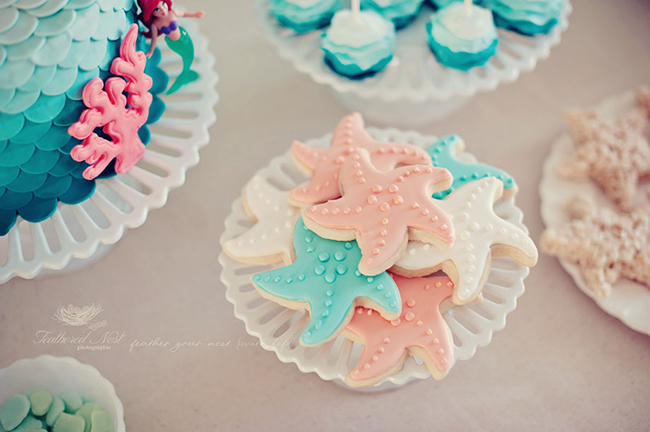 Starfish sugar cookies for a mermaid party
