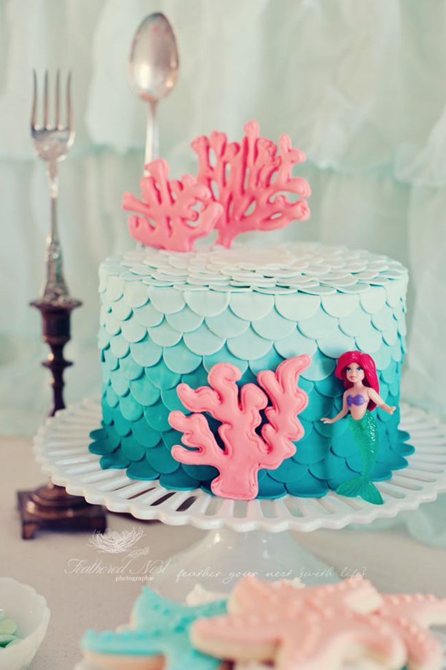 Ombre petal cake for a mermaid birthday party