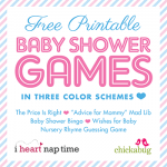 FREE printable baby shower games from Chickabug and I Heart Naptime! 5 games in all!