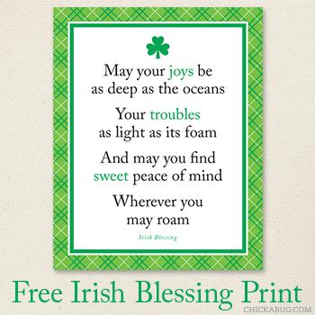 Free Irish blessing 8x10 print from Chickabug
