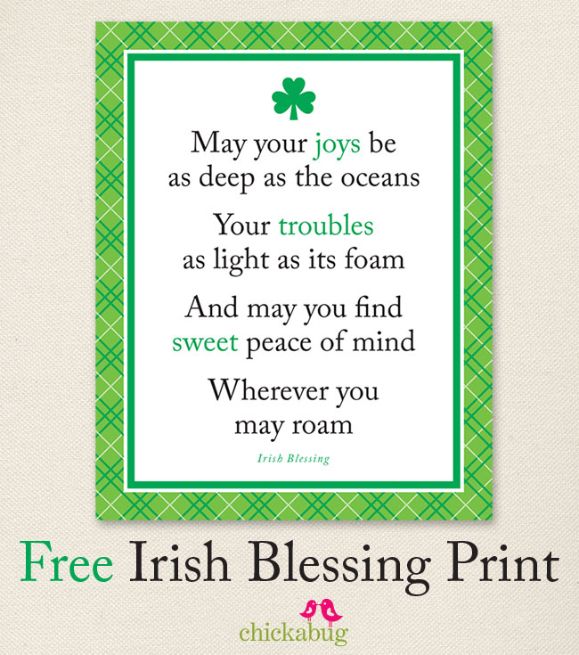 image regarding Printable Irish Blessing identified as Cost-free Irish blessing print Chickabug