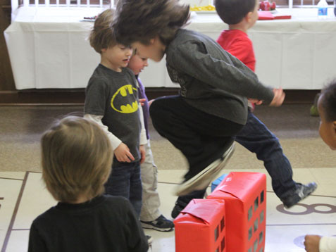 """Superhero party game - leaping over """"tall buildings""""!"""