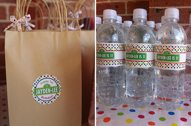 Sesame Street birthday party - stickers and water labels from Chickabug