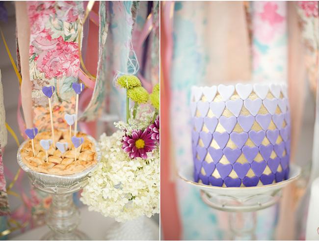 Shabby Chic Bridal Shower - Heart ombre cake