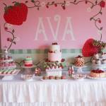 Strawberry theme birthday party