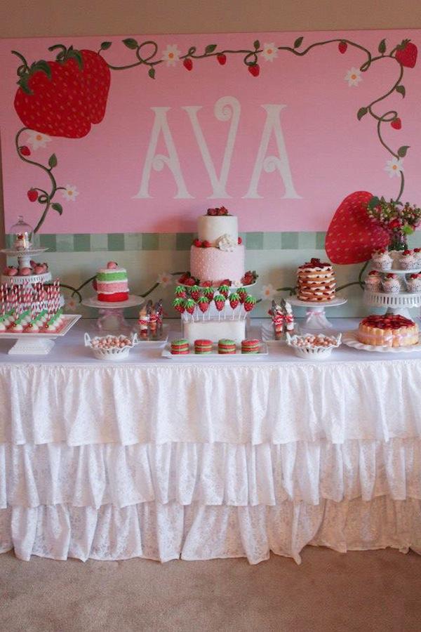 Strawberry birthday party - gorgeous!