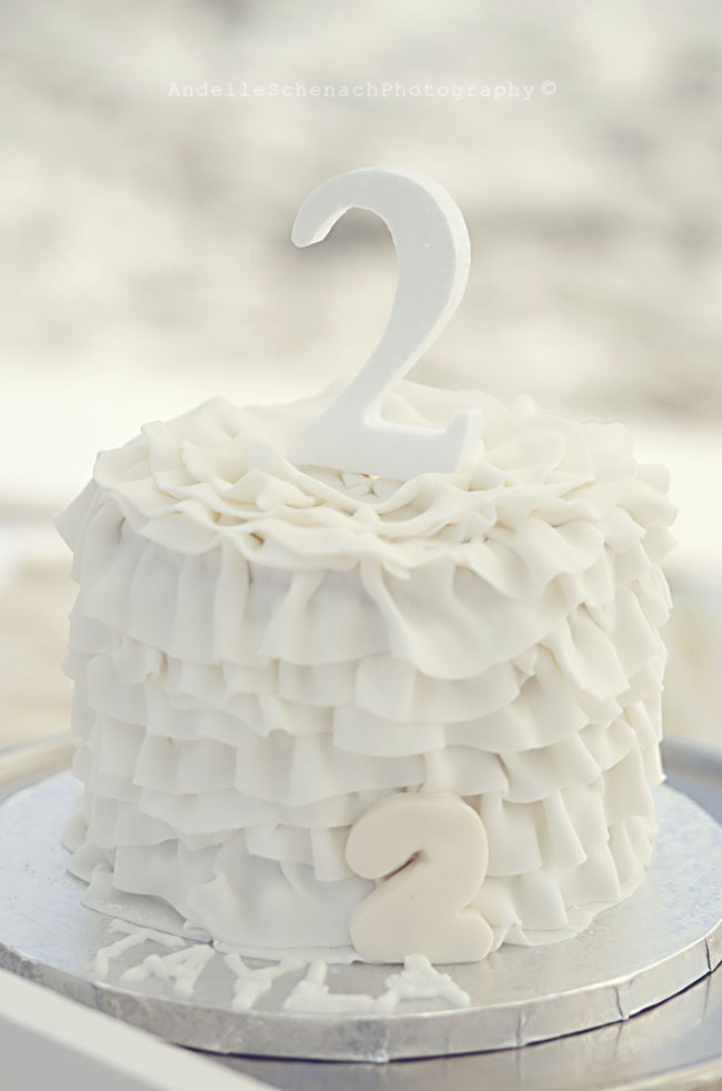 Gorgeous beach birthday party - white ruffle cake