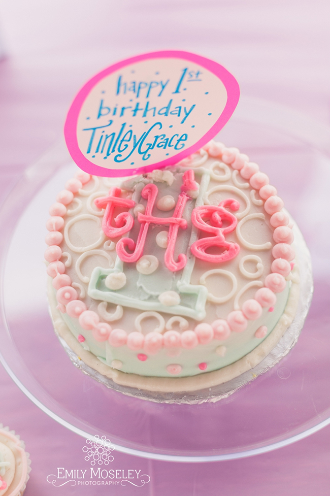 Lollipops theme first birthday - adorable monogrammed smash cake