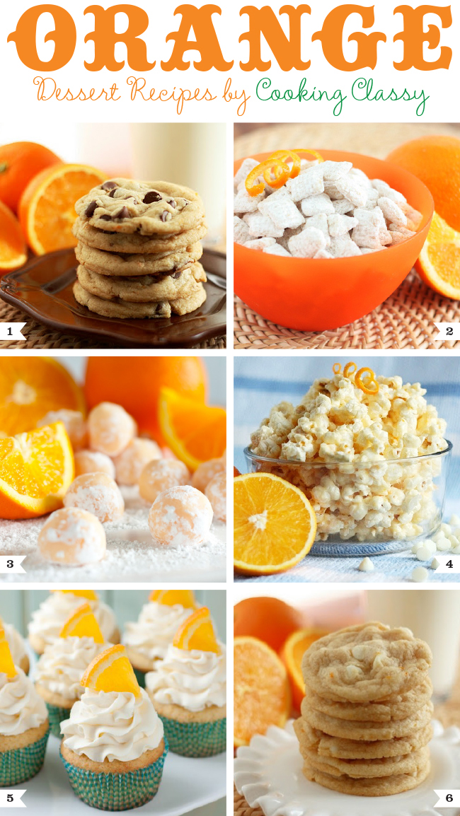 Orange dessert recipes by Cooking Classy - cookies, creamsicle muddy buddies, truffles, and more!