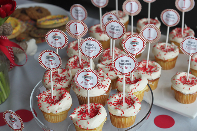 Sock monkey party - cupcakes with printable toppers from Chickabug
