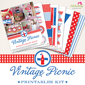 Vintage Picnic Printables Kit from Chickabug - 29 Pages of patriotic printables, perfect for the 4th of July, Memorial Day, or any summer party or picnic!