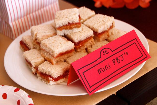 Elmo theme birthday party - mini PB&J's