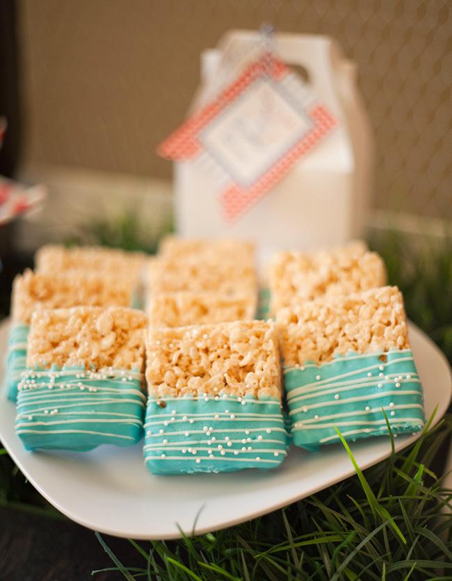 Indoor vintage picnic - Rice Krispy treats