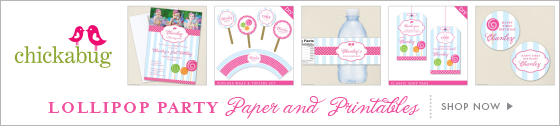 Chickabug lollipop theme paper goods & printables
