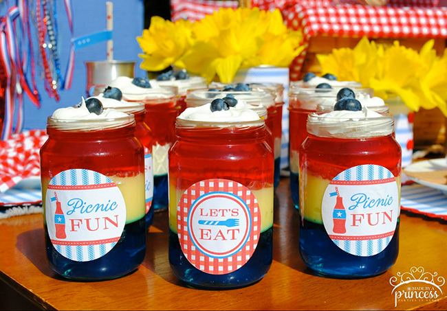 Red white and blue Jello jars! The labels are from a printable kit from Chickabug