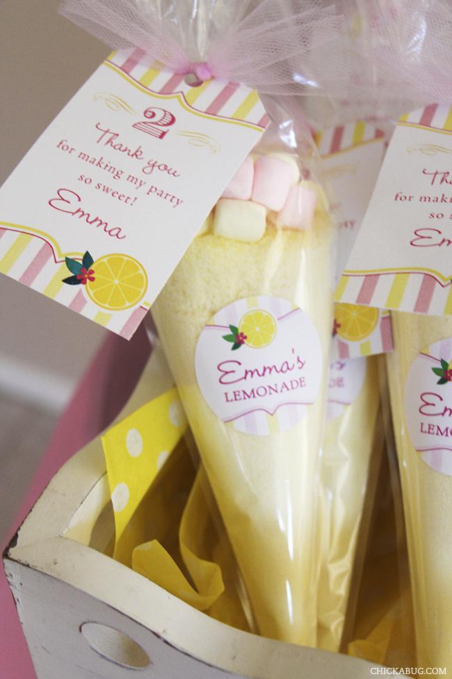 The cutest pink lemonade party favors!