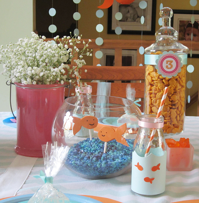 Adorable girlie goldfish birthday party!