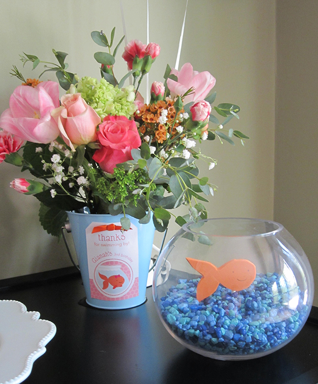 Pink goldfish birthday party - printable favor tags from Chickabug