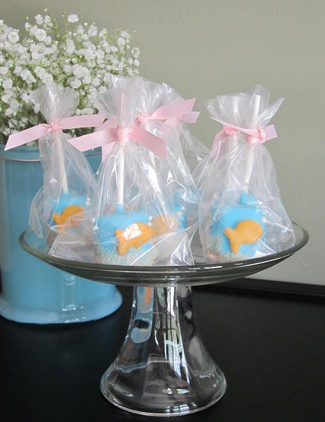 Goldfish marshmallow pops from Sweet Bites on Etsy