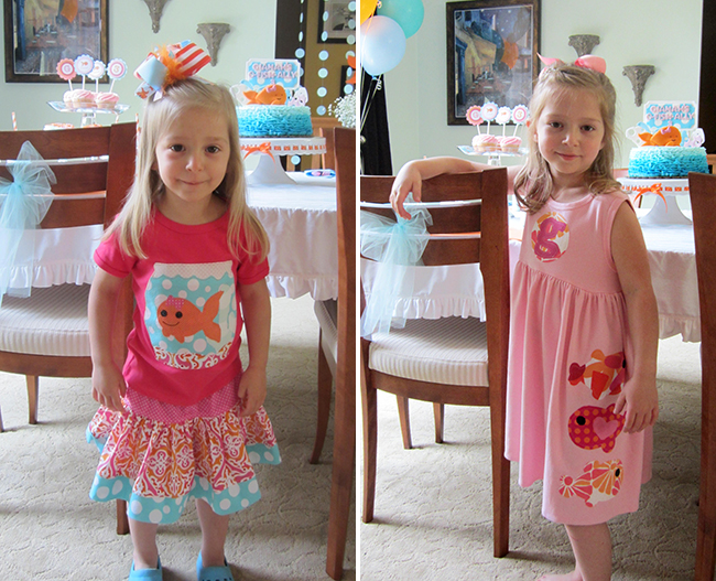 Pink goldfish birthday party - outfits by She Runs Like a Girl on Etsy and Around the Bend on Etsy