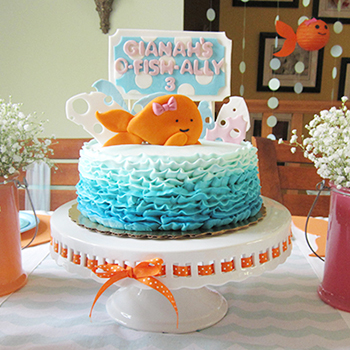 Pink goldfish theme birthday party