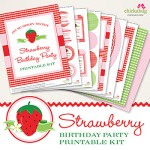 Strawberry birthday party printable kit from Chickabug - all the pretty printables you need to decorate a strawberry theme party!