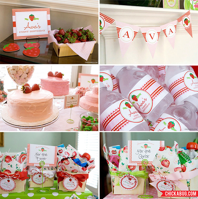Strawberry birthday party collection from Chickabug